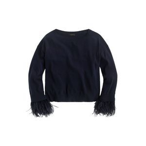 J. Crew L Feather Sleeve Crew Neck Sweater